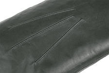 Мужские варежки из натуральной кожи модель 105 темно зеленый на подкладке из натурального меха, фото 2