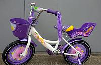 Велосипед детский двухколёсный 14 дюймов Azimut Girls фиолетовый  ***