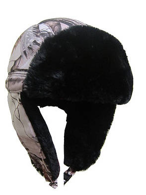 Зимняя мужская шапка белый камуфляж, фото 2
