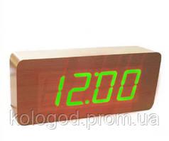 Цифрові Дерев'яні Настільні Годинники З Підсвічуванням 865-4 Green