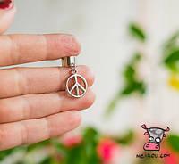 """Кафф """"Мир. Peace"""". Без прокола. Ручная работа"""