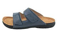 OrtoMed 3019 Синие, Липучка - Мужские ортопедические тапочки для проблемных ног