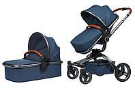 Универсальная коляска 2в1 Miqilong V baby X159 Navy Blue (X159-09)