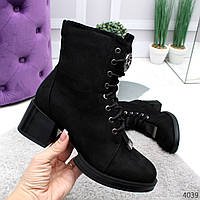 Женские зимние ботинки ботильоны на толстом каблуке со шнуровкой, фото 1
