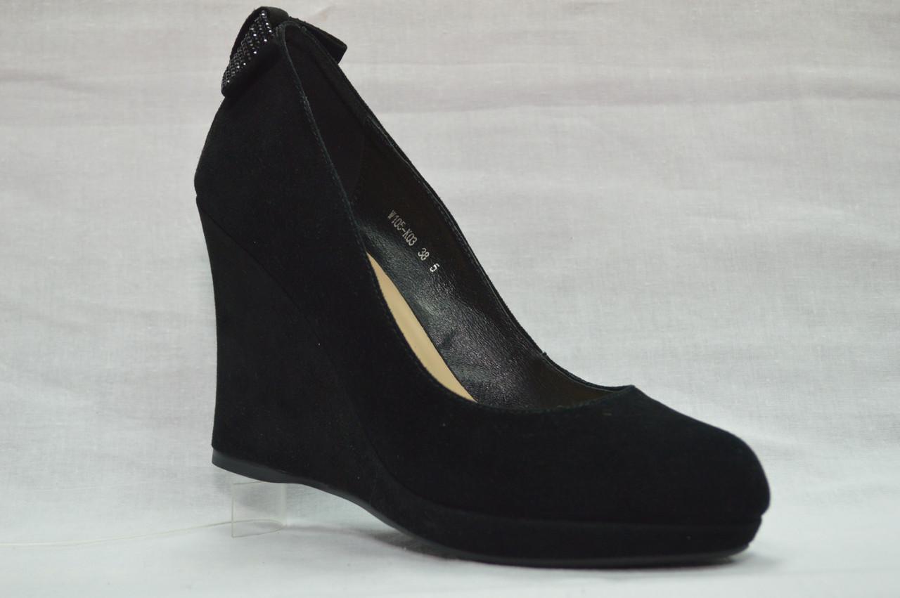 9473b6f9a Черние замшевые нарядные туфли Berloni на танкетке и платформе - Women Shoe  Shop в Ровно