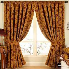 Цветочные шторы-складки с цветочным рисунком синель, золото