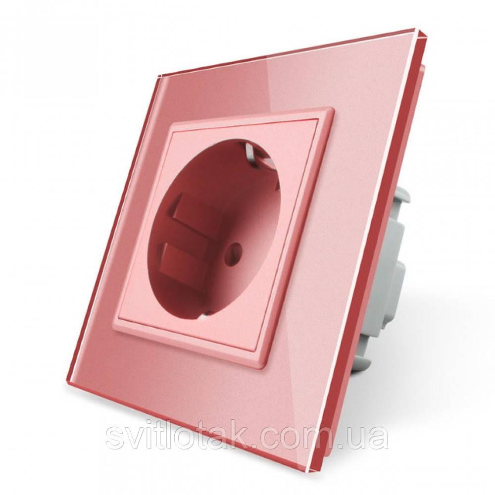 Розетка с заземлением Livolo 16А розовый стекло (VL-C7C1EU-17)