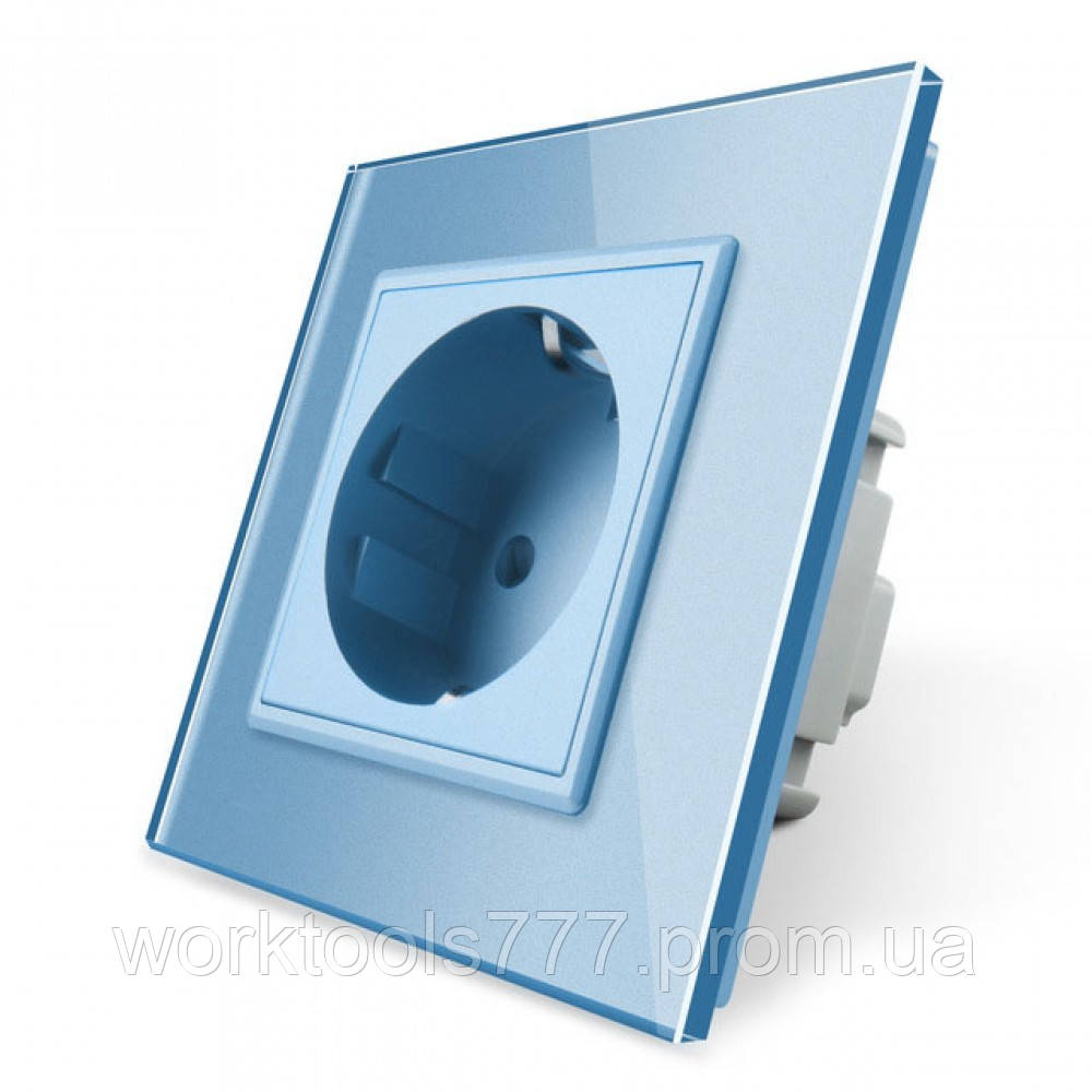 Розетка с заземлением Livolo 16А с заземлением со шторками рамка стекло голубой (VL-C7C1EU-19)