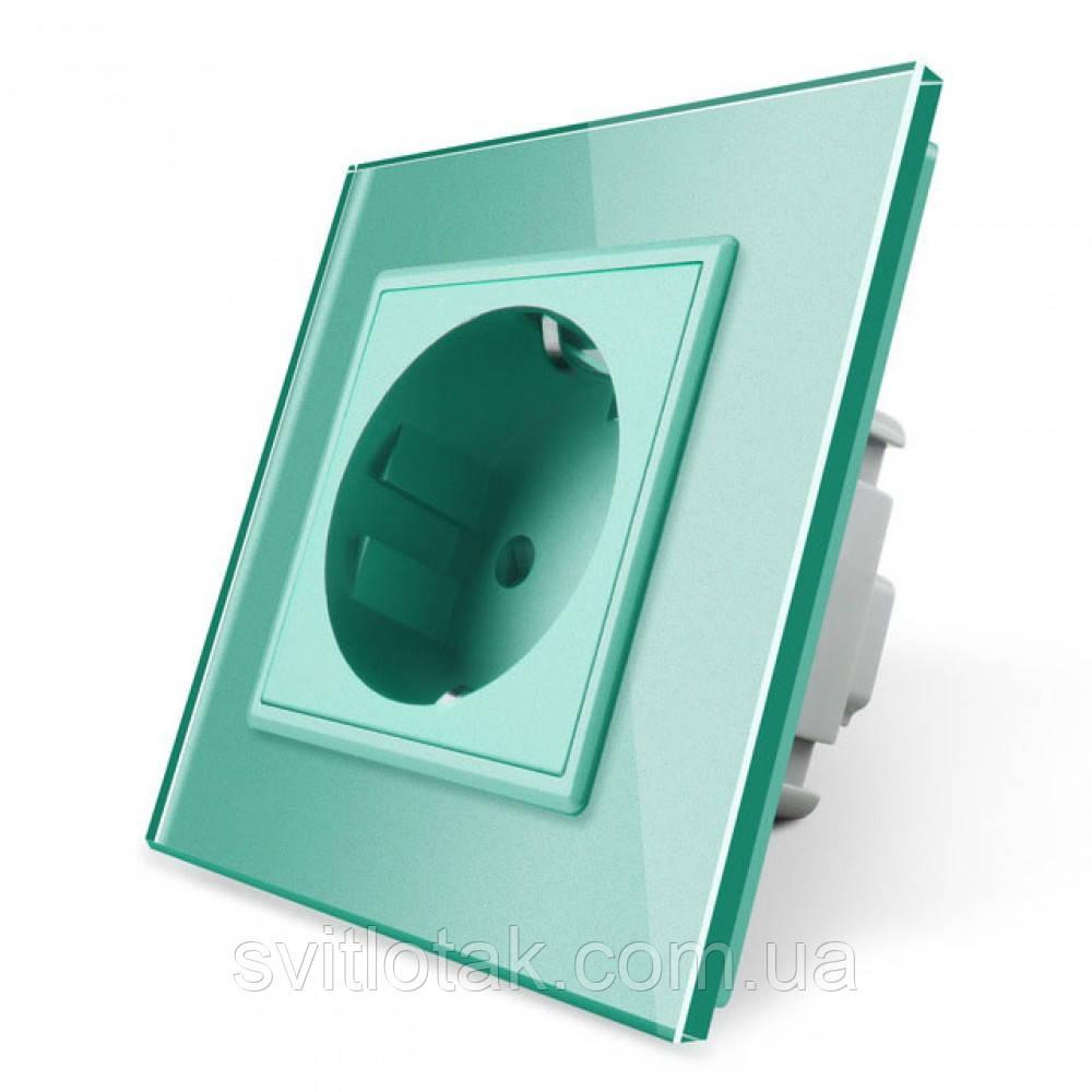 Розетка с заземлением Livolo 16А с заземлением со шторками рамка стекло зеленый (VL-C7C1EU-18)