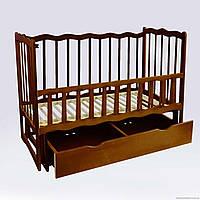 """Кроватка деревяная. маятник+шухляда - откидной, """"Волна"""" ольха - цвет тёмно-коричневый"""