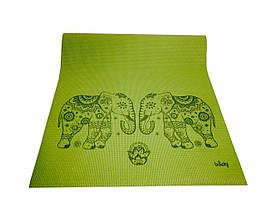 Лила Слоны (Leela Elephants) зеленый коврик для йоги