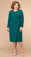 Платье Линия-Л-Б-1778 белорусский трикотаж, изумрудный, 54, фото 1