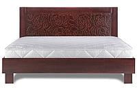 Кровать из дерева «Марго», 160х200, Walnut, silver patina