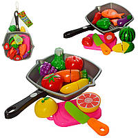Продукты 3016C, на липучке, сковородка, нож, досточка, 2вида, в сетке, 30-20-6см