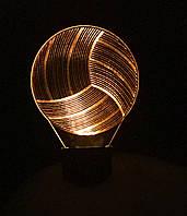 3d-светильник Волейбольный мяч, 3д-ночник, несколько подсветок (батарейка+220В)