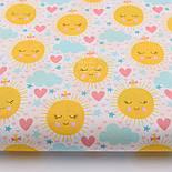 """Лоскут ткани """"Солнышко с сердечком и облаком"""" на белом фоне № 914а, фото 2"""