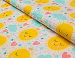 """Лоскут ткани """"Солнышко с сердечком и облаком"""" на белом фоне № 914а, фото 6"""