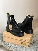 Женские зимние ботинки кожаные Dr Martens Jadon Black Mono 2 (Доктор Мартенс Жадон Блэк Моно 2)