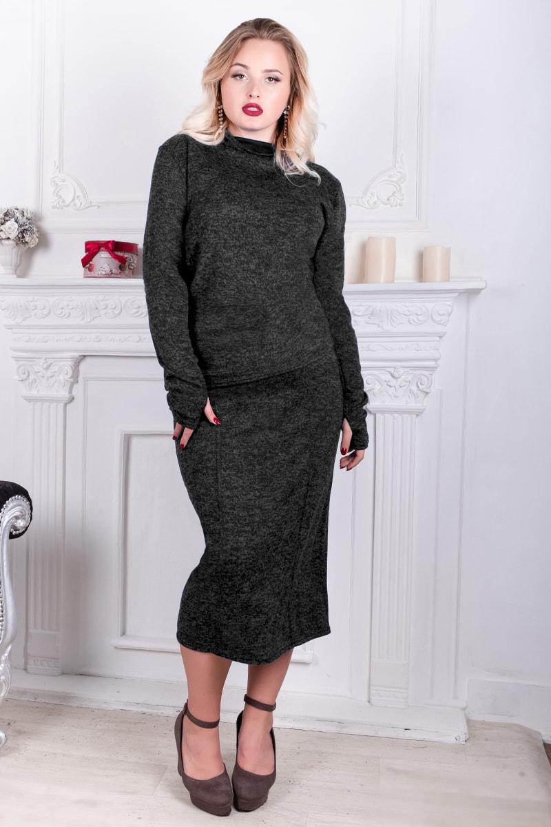 Сірий теплий ангоровый костюм Варлей великого розміру