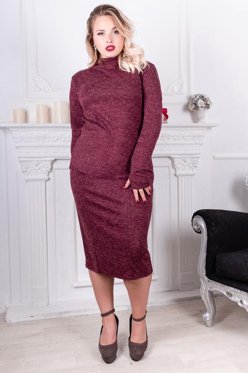 Бордовый теплый ангоровый костюм Варлей большого размера