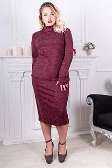 Бордовий теплий ангоровый костюм Варлей великого розміру