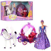 Карета 234A відчин. двері, конячка рухається, лялька, світло, муз., бат., кор., 60-33-20 см