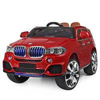 Детский электромобиль BMW X5, M 2762 (MP4) EBLR-3, кожаное сидение, красный