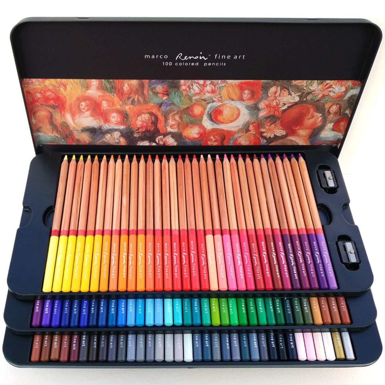Олівці кольорові Marco Renoir FineArt 100 кольорів кедр металевий пенал FM3100-100TN, 914797