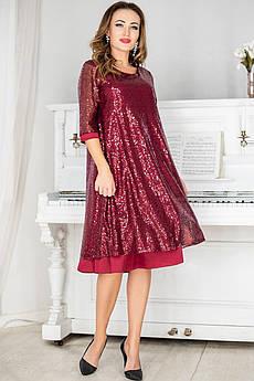 Бордове нарядна сукня з паєтками Россі