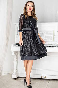Чорне нарядна сукня з паєтками Россі