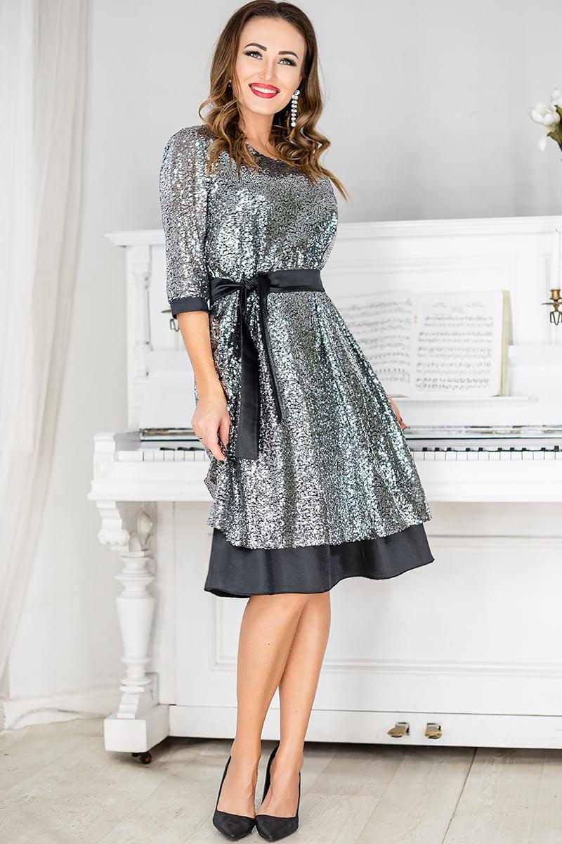 Серебристое нарядное платье с пайетками Росси