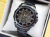 Мужские механические часы скелетоны с автоподзаводом Forsining черные с серебристым, стальной браслет, CW510