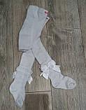 Белые нарядные колготки для новорожденных р-р 3-6 мес, фото 3