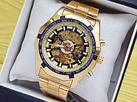 Мужские механические часы скелетоны с автоподзаводом Forsining золотые, стальной браслет, CW511