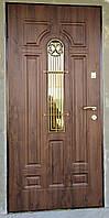 Дверь входная Лучия со стеклом и ковкой серии Комфорт ТМ Каскад