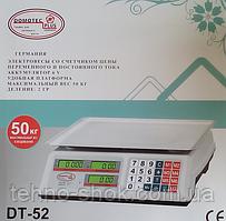 Весы торговые электронные со счетчиком цены на 50кг DT52 Domotec 6V