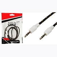 AUX кабель ткань c золотом 1м 2 pin (черный)