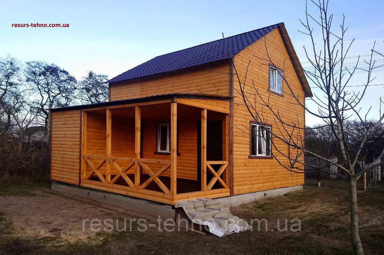 Дачный домик 8м х 8м из блокхауса с мансардой и террассой