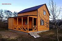 Дачный домик 8м х 8м из блокхауса с мансардой и террассой, фото 1