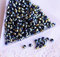 Ронделі 3*4мм, 50 шт, скло, синьо-золотий півник