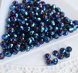 Рондели 3*4мм, 50 шт, стекло, синие