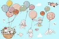 Фотообои на бумажной основе - ЗАЙКИ НА ШАРИКАХ для детской комнаты (ширина -1,27)