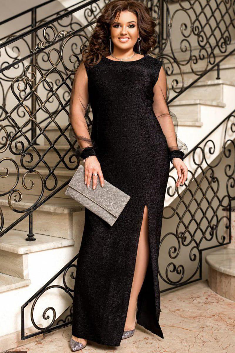 Черное длинное вечернее платье Феррари