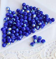 Рондели 3*4мм, 50 шт, стекло, королевский синий, полу-АВ