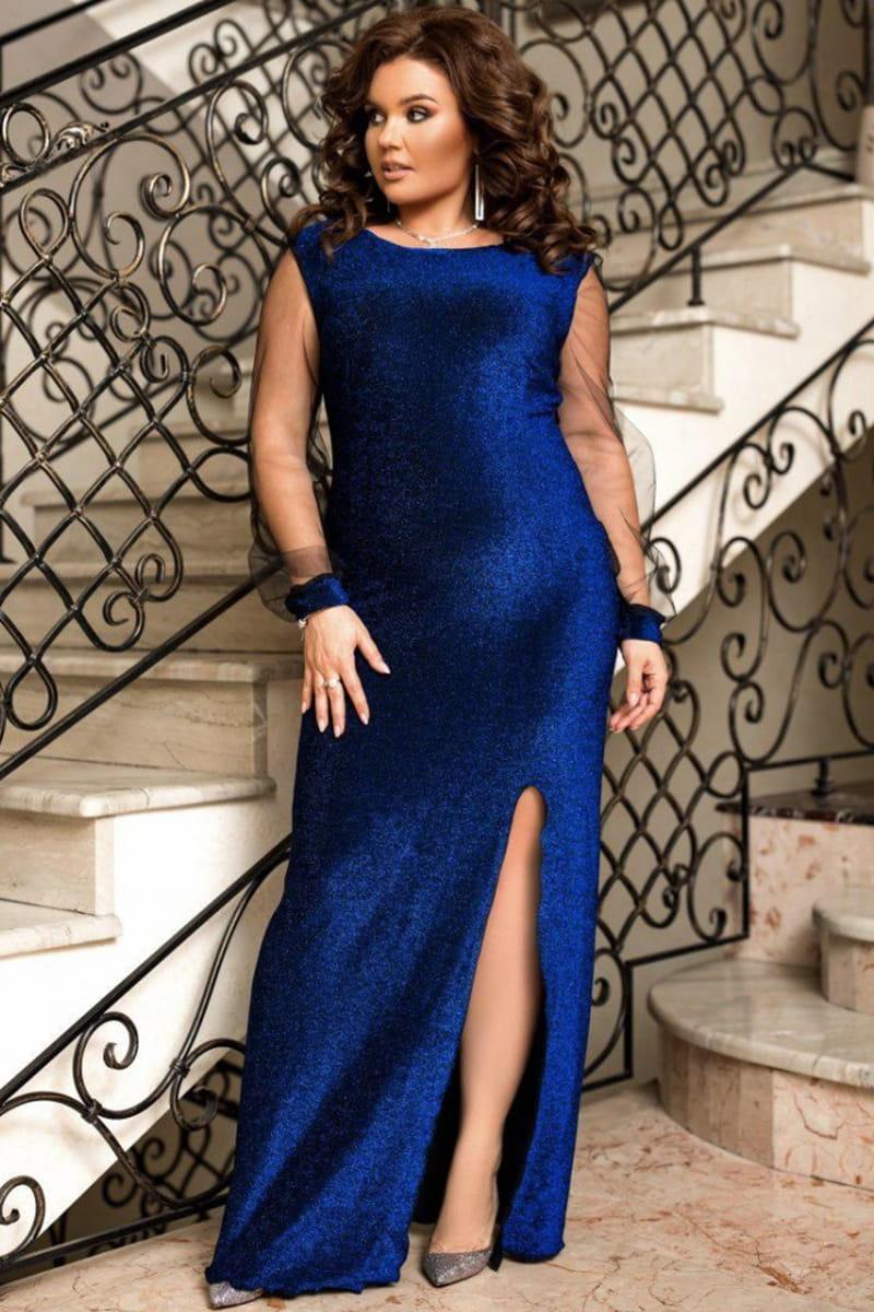 Синее длинное вечернее платье Феррари