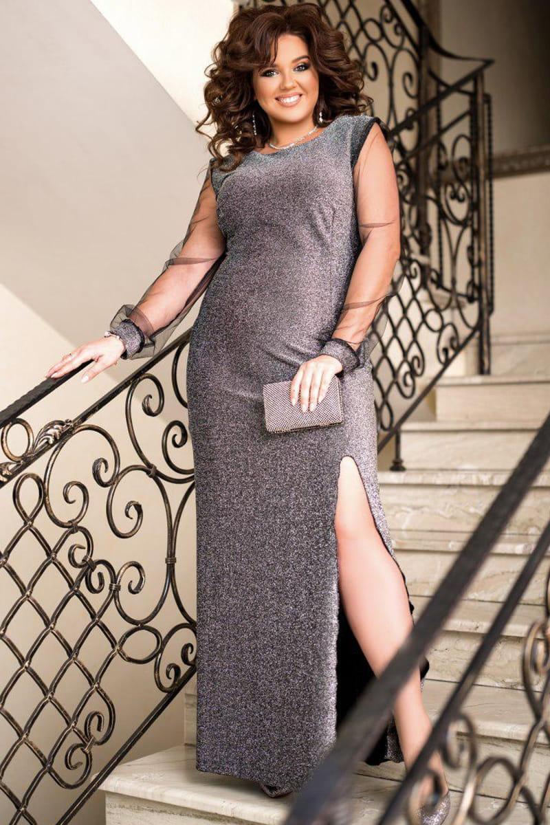 Серебристое длинное вечернее платье Феррари
