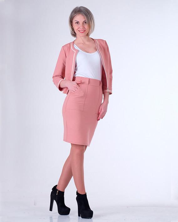 Костюм Milava в стиле Шанель Розовый размеры 40-44