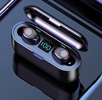 Беспроводные наушники гарнитура в кейсе-павербанком для телефона Amoi F9-touch Bluetooth Черные