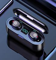 Беспроводные сенсорные наушники гарнитура в кейсе с павербанком с микрофоном Amoi F9-touch Bluetooth Черные