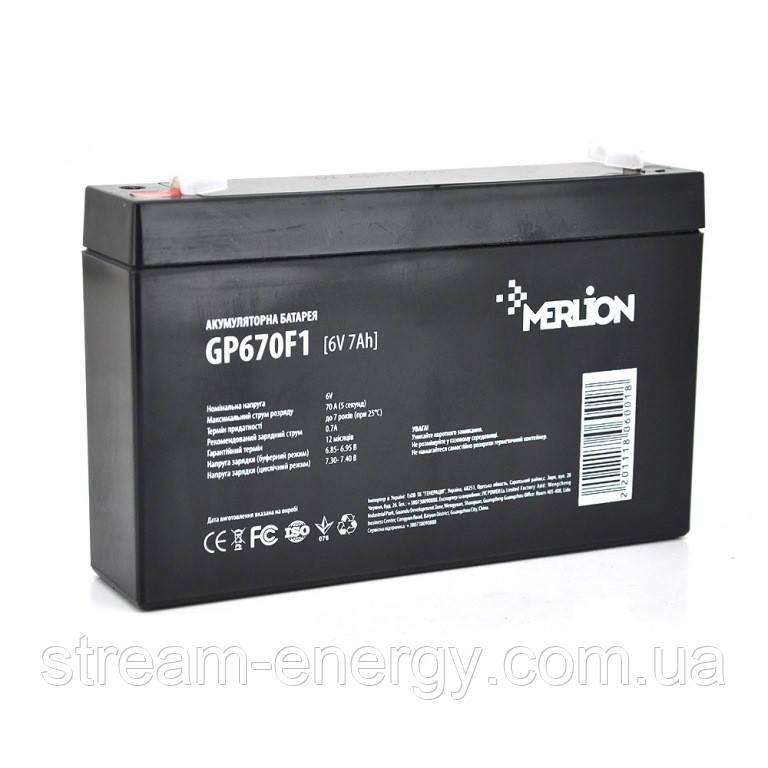 Аккумулятор AGM Merlion (6В -7Ач) GP670F1